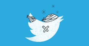 twitter bird bandaged